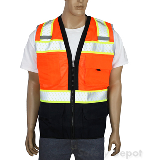 Black Bottom Orange Safety Vest