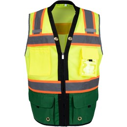 Green Bottom Two Toned Class 2 Safety Vest THUMBNAIL