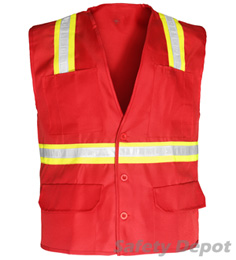 Red Button Closure Safety Vest THUMBNAIL