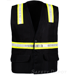 Black Button Closure Safety Vest THUMBNAIL