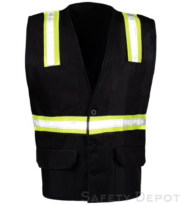 Black Button Closure Safety Vest MAIN