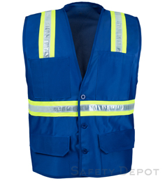 Blue Botton Closure Safety Vest