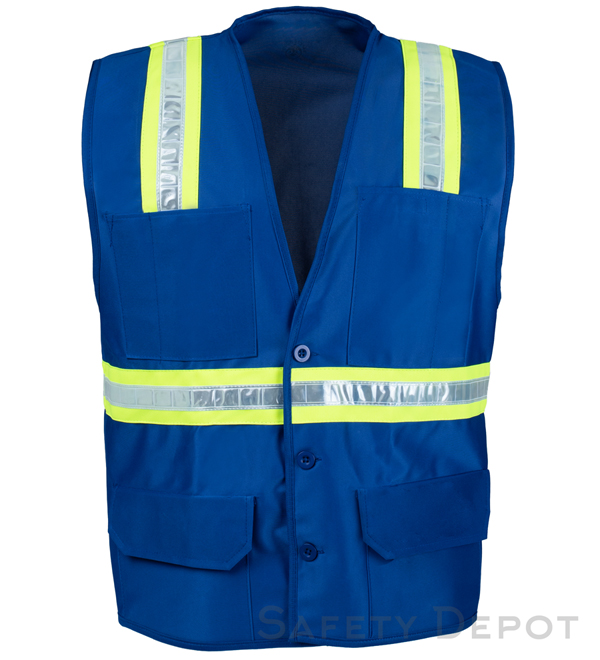 Blue Botton Closure Safety Vest MAIN