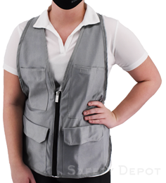 Women's Gray Safety Vest THUMBNAIL
