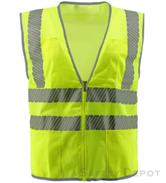 Chevron style yellow mesh safety vest with zipper closure THUMBNAIL