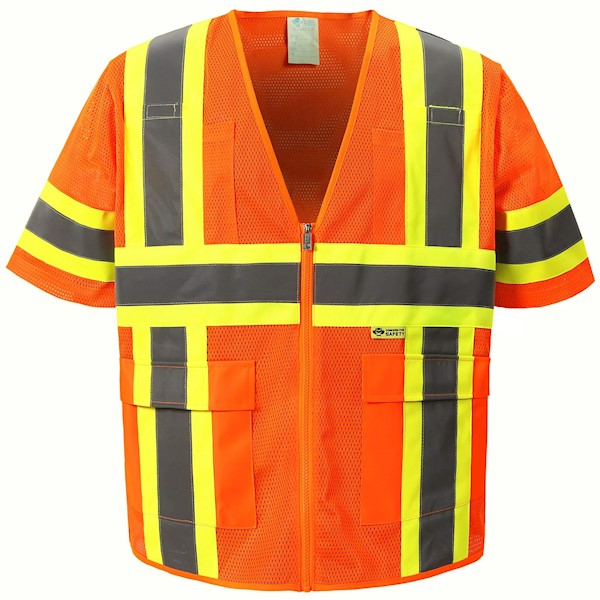 Orange Mesh Class 3 safety vest MAIN
