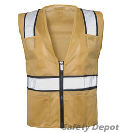 Tan Mesh Safety Vest