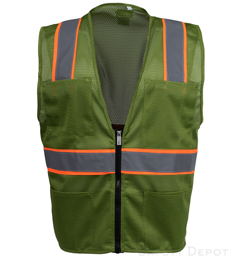 Olive Green Mesh Safety Vest THUMBNAIL