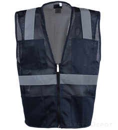 Navy Blue Mesh Safety Vest THUMBNAIL