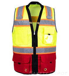 Red Bottom Two Toned Class 2 Safety Vest THUMBNAIL