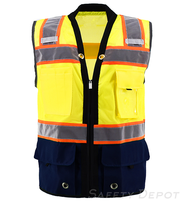 Navy Blue Bottom Two Toned Class 2 Safety Vest MAIN
