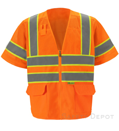 Orange Class 3 Mesh Safety Vest THUMBNAIL