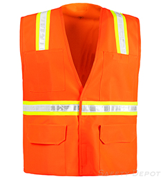 Orange Safety Vest with Pockets and Velcro Closure THUMBNAIL