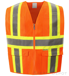 Orange Safety Vest with Pockets Class 2 THUMBNAIL