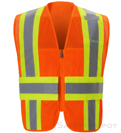 Adjustable Orange Mesh Safety Vest THUMBNAIL