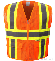 MESH CLASS 2 ORANGE SAFETY VEST THUMBNAIL