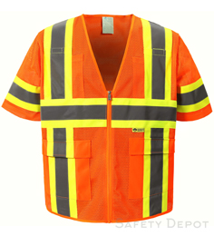 Orange Mesh Class 3 safety vest THUMBNAIL