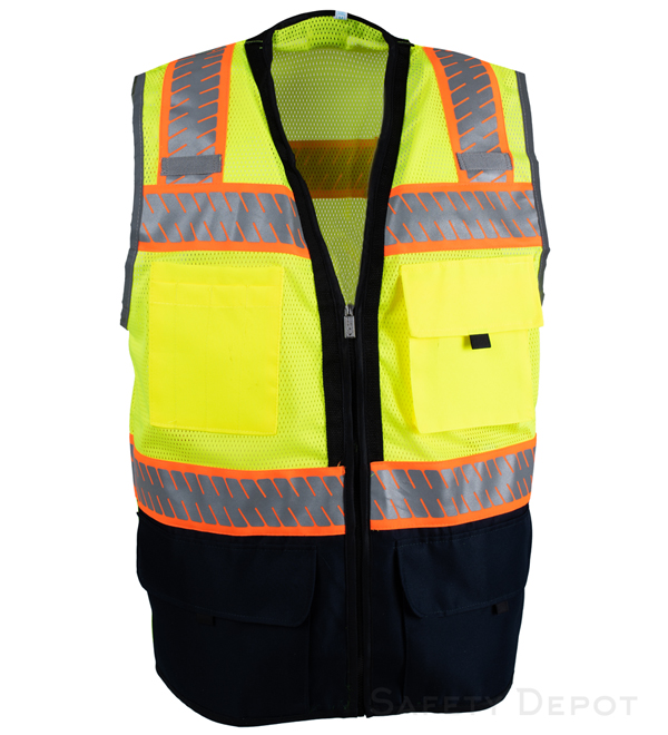 Navy Blue Bottom Lime Safety Vest MAIN