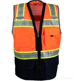 Navy Blue Bottom Orange Safety Vest THUMBNAIL