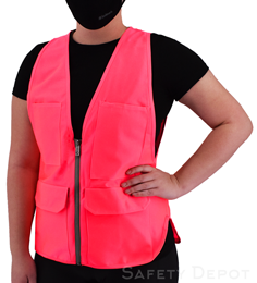 Women's Pink Safety Vest THUMBNAIL