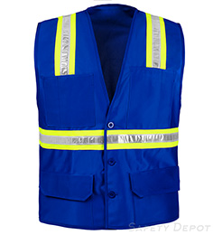 Blue Botton Closure Safety Vest THUMBNAIL
