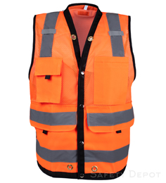 orange surveyor vest, class 2, mesh