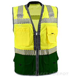 Premium Green  Bottom Two Toned Class 2 Safety Vest THUMBNAIL