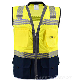 Premium Navy Blue Bottom Two Toned Class 2 Safety Vest THUMBNAIL