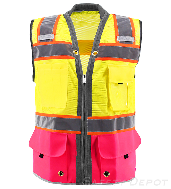 Pink Bottom Two Toned Class 2 Safety Vest MAIN