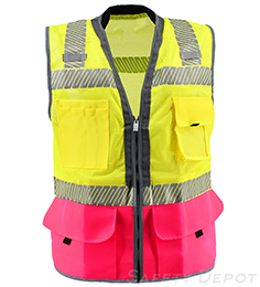 Premium Pink Bottom Two Toned Class 2 Safety Vest THUMBNAIL