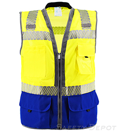 Premium Royal Blue Bottom Two Toned Class 2 Safety Vest THUMBNAIL