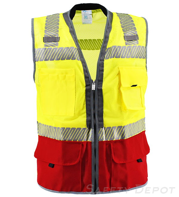 Premium Red Bottom Two Toned Class 2 Safety Vest MAIN