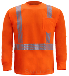 Hi Vis Long Sleeve Shirt Reflective ANSI Class 2 Orange THUMBNAIL