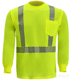 Hi Vis Long Sleeve Shirt Reflective ANSI Class 2 Yellow THUMBNAIL