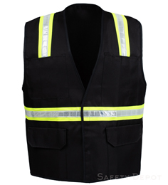 Black Velcro Safety Vest THUMBNAIL