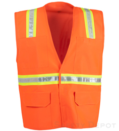 Orange Velcro Safety Vest THUMBNAIL