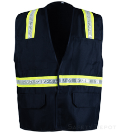 Navy Blue Velcro Safety Vest THUMBNAIL