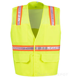 Lime Mesh Velcro Safety Vest THUMBNAIL