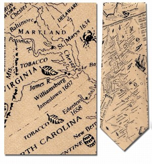 13 COLONIES MAP TIE LARGE