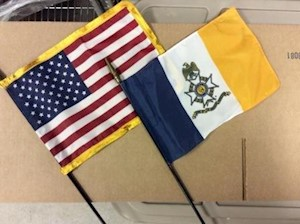 8 X 12 IN. US/SAR FLAG DESK SET LARGE