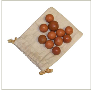 "3/4"" CLAY MARBLES IN CLOTH BAG LARGE"