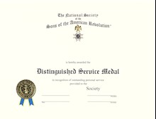 State Distinguished Service Medal Certificate LARGE