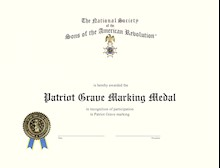 PATRIOT GRAVE MARKING MEDAL CERTIFICATE LARGE