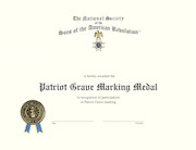 PATRIOT GRAVE MARKING MEDAL CERTIFICATE THUMBNAIL