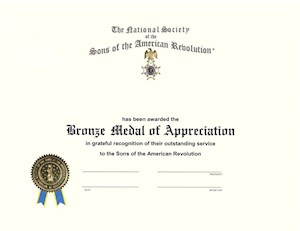 BRONZE CAR MEDAL OF APPRECIATION CERTIFICATE LARGE