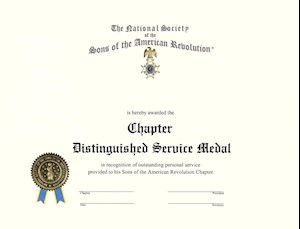 CHAPTER DISTINGUISHED SERV. MEDAL CERT. LARGE