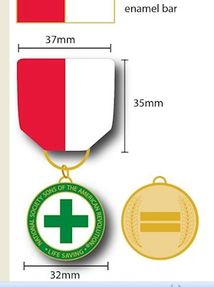 LIFE SAVING MEDAL & ENAMEL BAR LARGE