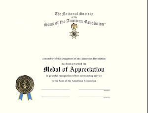 MEDAL OF APPRECIATION CERTIFICATE LARGE