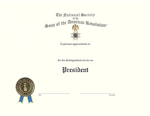 PAST CHAPTER PRESIDENT CERTIFICATE LARGE
