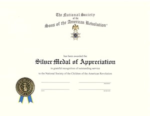 SILVER CAR MEDAL OF APPRECIATION CERTIFICATE LARGE